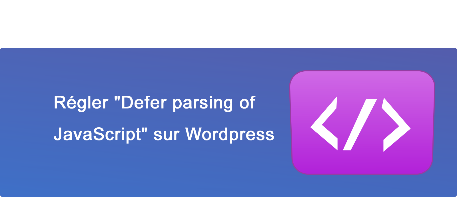 "Régler ""Defer parsing of JavaScript"" sur Wordpress"