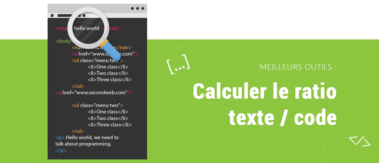 Outil pour calculer le ratio texte code