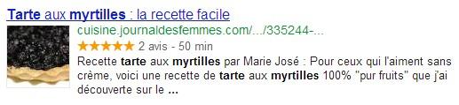 Exemple d'affichage d'un rich snippet Google avec note d'avis