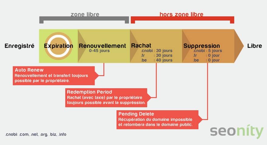 Cycle de vie d'un nom de domaine, infographie