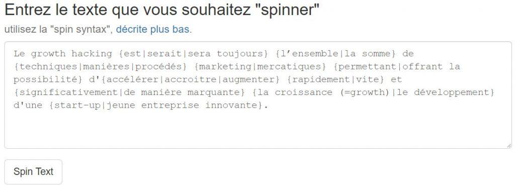 Outil spinner