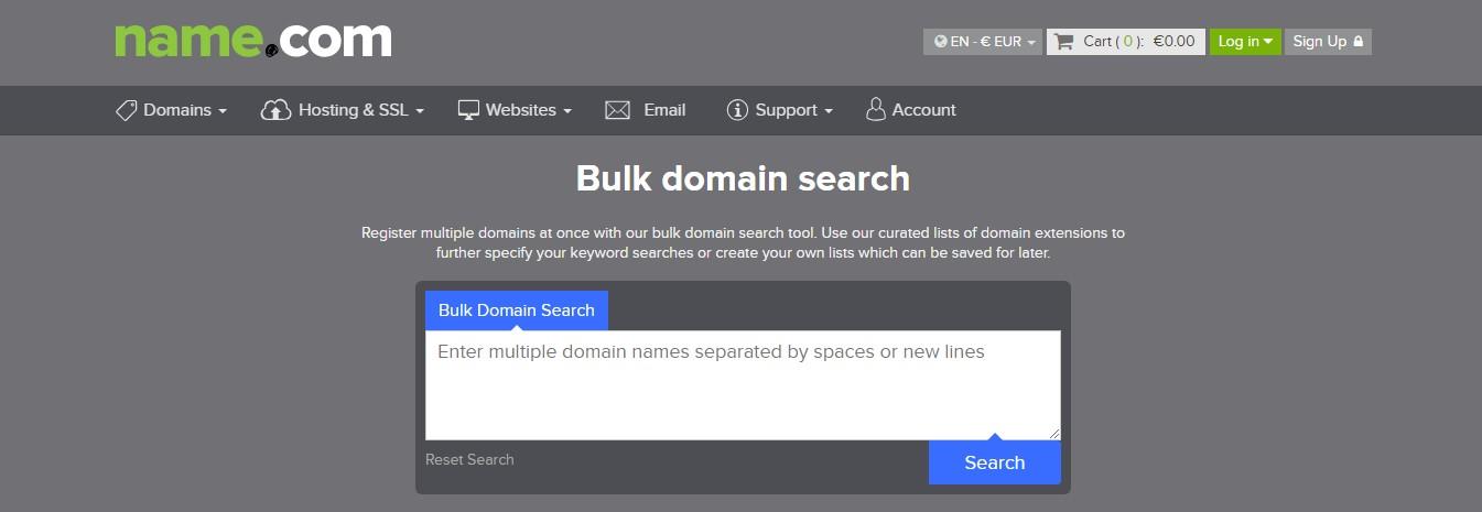 Name.com Bulk domain search