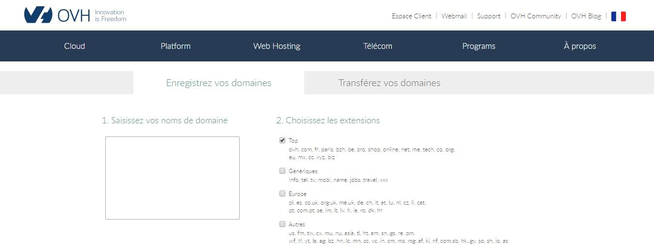 OVH recherche un nom de domaine disponible