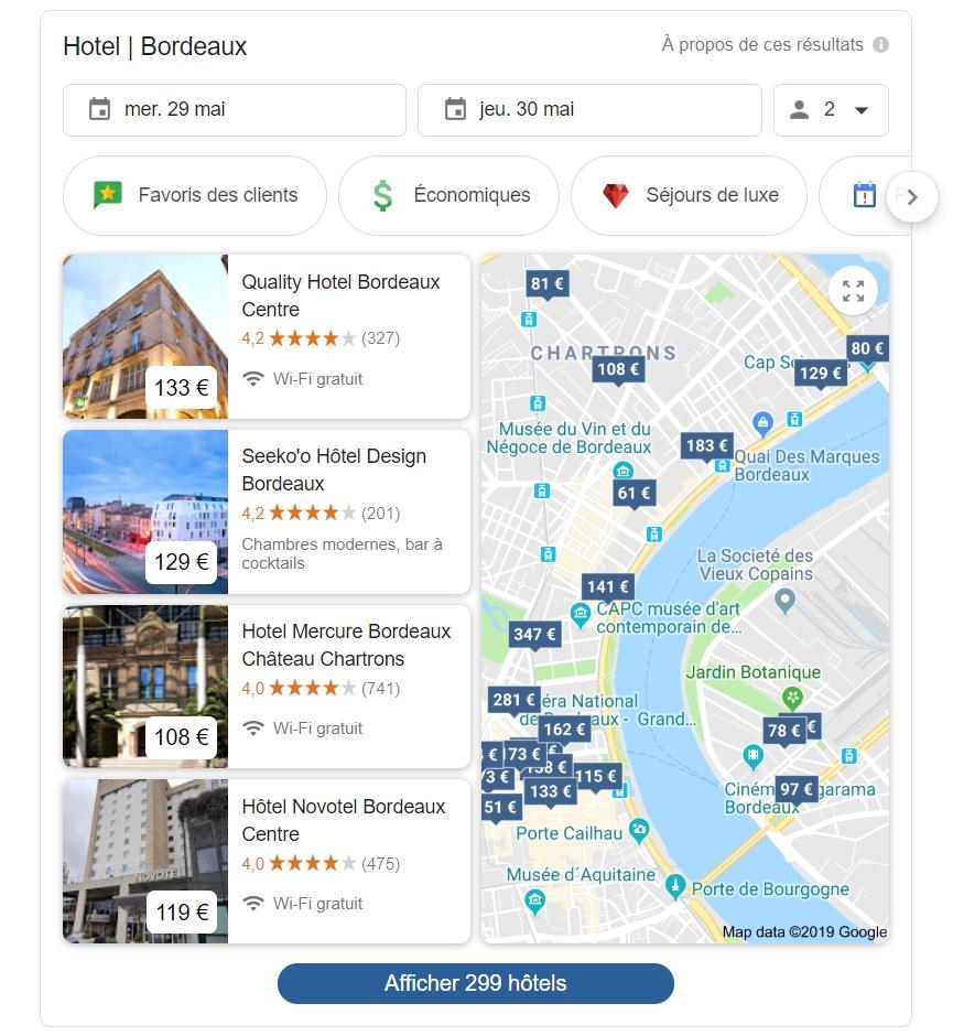 Google résultats hotel recherche