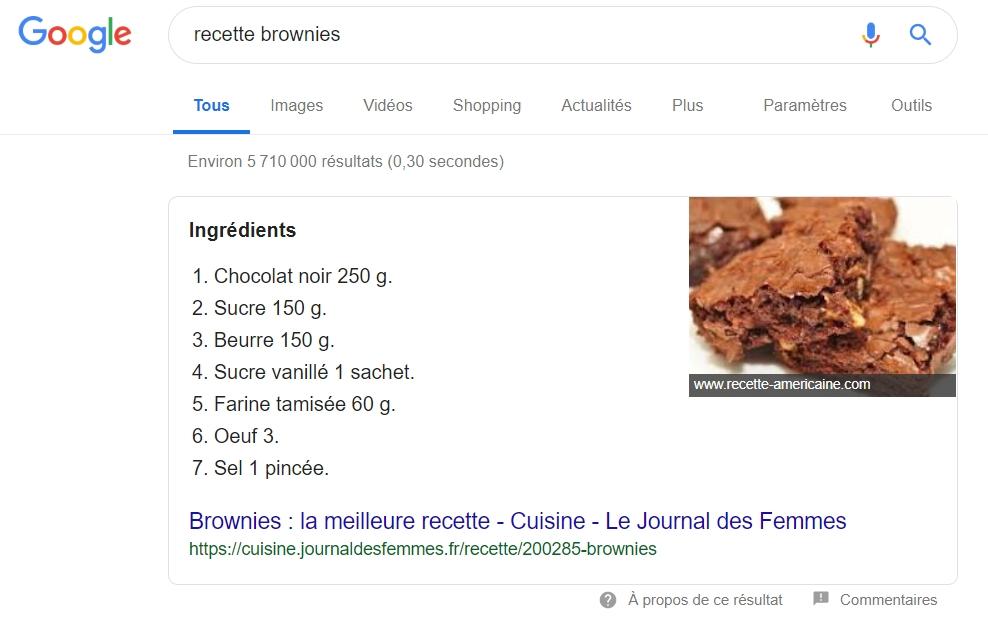 Google résultat recette