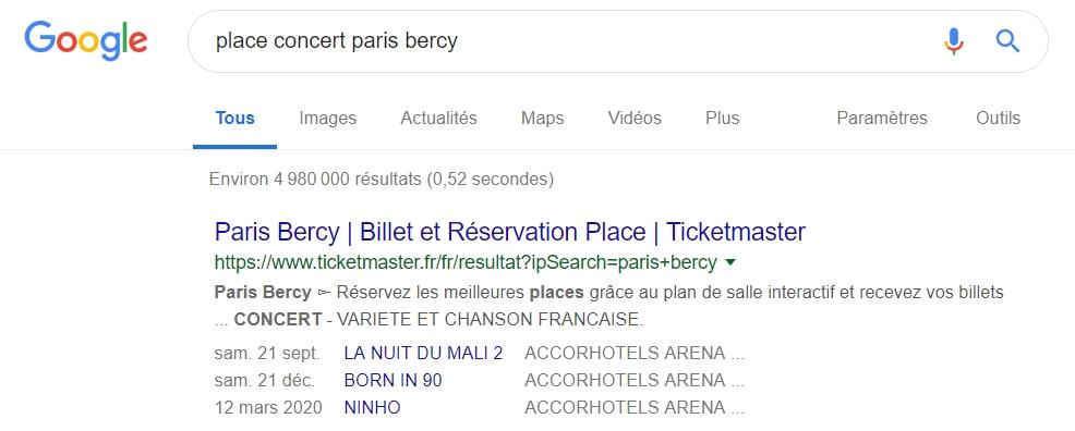 Google résultats concert